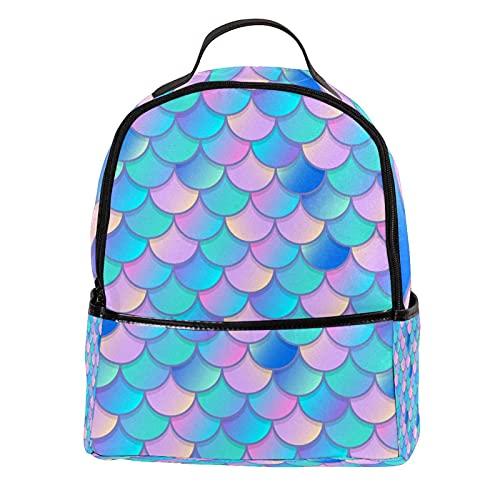 AITAI Mochila de cuero de la PU azul rosa acuarela sirena patrón escala escuela al aire libre College Bookbag fit mochila
