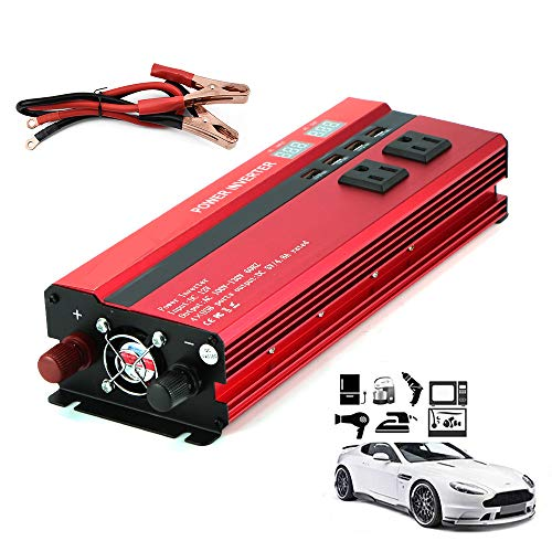 LNLN 2000 W Solar Wechselrichter, LCD Dc12 / 24V Auf Ac110 / 220V Sinus-Wandler, 4 USB-Schnittstellen, 3 Ac-Steckdosen, Outdoor-Reisen Und Camping,24V-220V