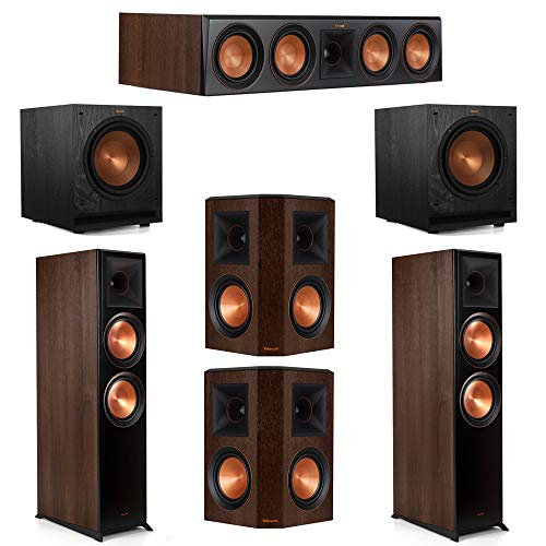 Learn More About Klipsch 5.2 Walnut System 2 RP-8000F Floorstanding Speakers, 1 Klipsch RP-404C Cent...