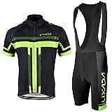 Lixada メンズサイクリングジャージーセット自転車半袖セット速乾性通気性シャツ+ 3Dクッションショーツパッド入りパンツ/ビブショーツ