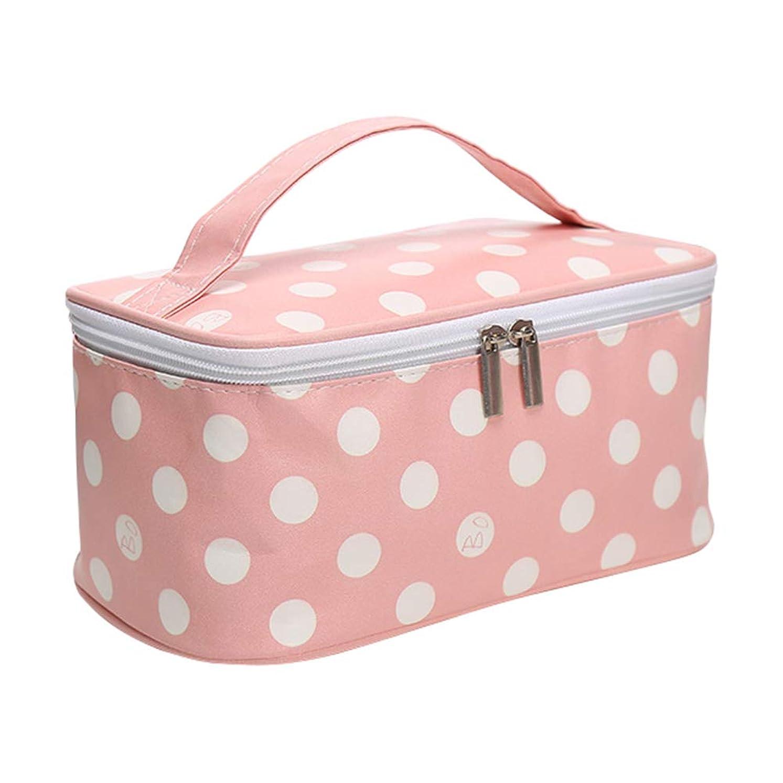 コスメバッグ メイクボックス メークバッグ 化粧ボックス 化粧品収納バッグ 化粧箱 ドレッサー 化粧品 収納 雑貨 小物入れ ドット 女性 超軽量 機能的 シンプル 大容量