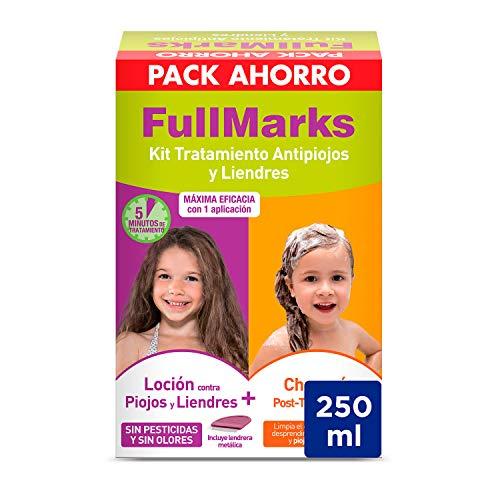 Full Marks Kit Tratamiento Antipiojos para Niños, Elimina los Piojos, Contiene Loción 100 Mililitros, Champú Post-Tratamiento 150 Mililitros y Lendrera Negro Estándar 250 Mililitros