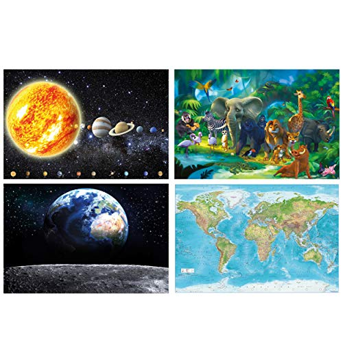 GREAT ART® 4er Set XXL Poster Kinder Motive – Lernset – Sonnensystem Planeten Dschungel Tiere Relief Weltkarte Weltall Bild Dekor Maps-in-Minutes™ Wandbild Plakat je 140 x 100 cm