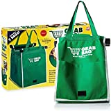 2Pack Reusable Grocery Bags Shopping Trolley Bags, Green Non-woven Tote Bags with Handles, Collapsible Grab and Go Bag Clip on Shopping Cart