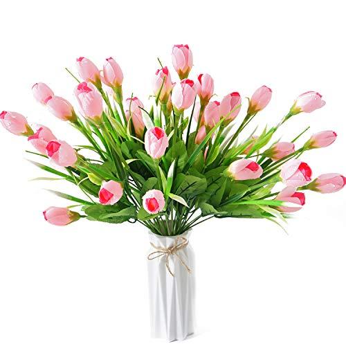 (50% OFF Coupon) Water-Drop Artificial Tulip Flowers 4 Bunch  $8.50