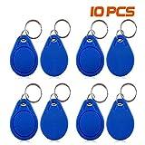 YAVIS Nähe 13.56MHz RFID Chips mit Transponder Schlüsselanhänger NFC Token Tags MF 1k Chipschlüssel Schlüsselring Zutrittskontrolle keyfob Key Card - Blau (10er Pack)