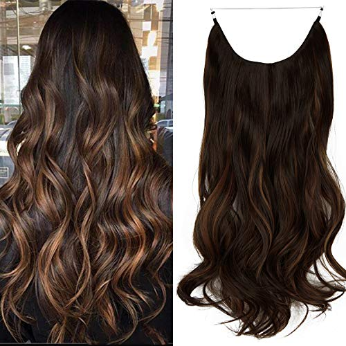 Long Wavy Hair Extensions with Invisible Transparent Wire Adjustable Size Fish Line Curly Thick Hidden Crown Secret Hairpiece for Women No Clip 20 Inch 4.4 Oz (Dark Brown Mix Light Auburn)