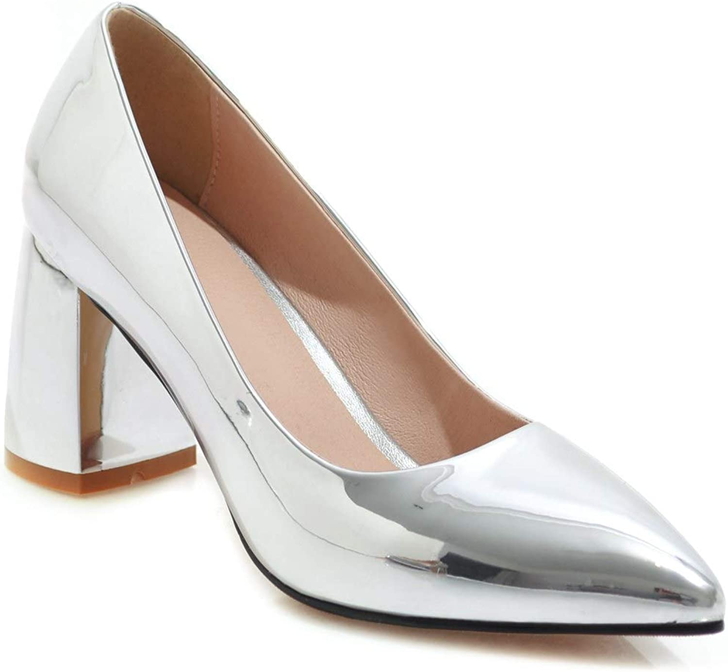 JIEEME Women's Fashion Square Heels Pointed Toe Silver God High Heels Casual Pumps
