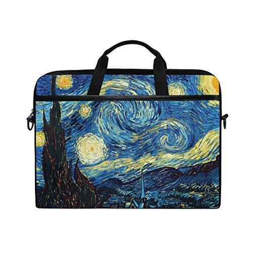 Ahomy - Borsa per computer portatile da 14 pollici, pittura a olio Van Gogh, classica notte stellata in tela di canapa, borsa per computer portatile con tracolla per donne e uomini
