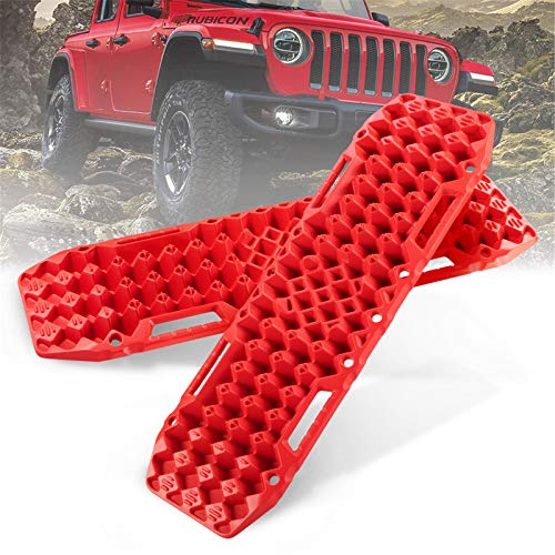 BUNKER INDUST Off-Road Traction Boards with Jack Lift Base, 1 Pair Recovery Tracks Traction Mat for 4X4 Jeep Mud, Sand, Snow Traction Ladder-Red Tire Traction Tool