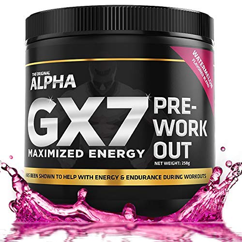 ALPHA GX7 Pre Workout For Men and Women - Lasting Energy, Enhanced Performance - Sugar Free 30 Servings Watermelon Flavor