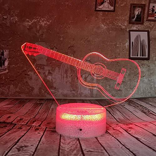3D Led Bunte 7 Farben Gitarre Nachtlicht Ändern Usb Weihnachten Geburtstagsgeschenke Tisch Schreibtischlampe Baby Kinder