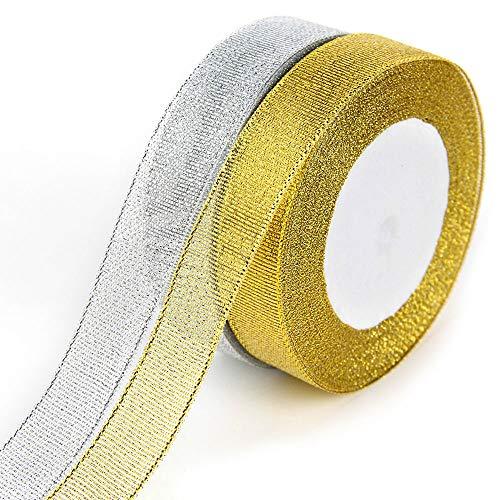 G2PLUS 2 Rotoli Nastri Natalizi Organza Ribbon Oro e Argento Nastro Bomboniere 44 Metre di Nastro di Chiffon per Decorazioni Natalizie, Confezioni Regalo e Creazioni fai da te