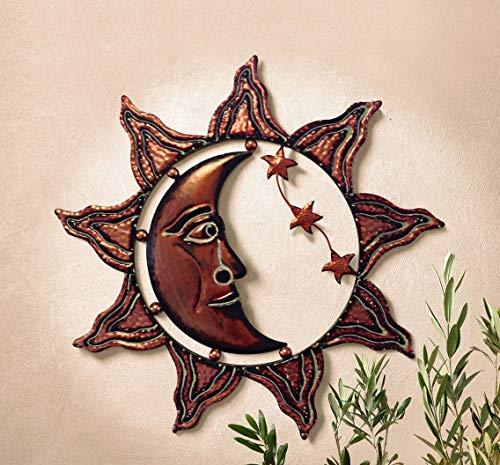 """Wandhänger\""""Sonne, Mond und Sterne\"""" aus Metall, kupfer, Ø ca. 58 cm, Wandbild Relief"""
