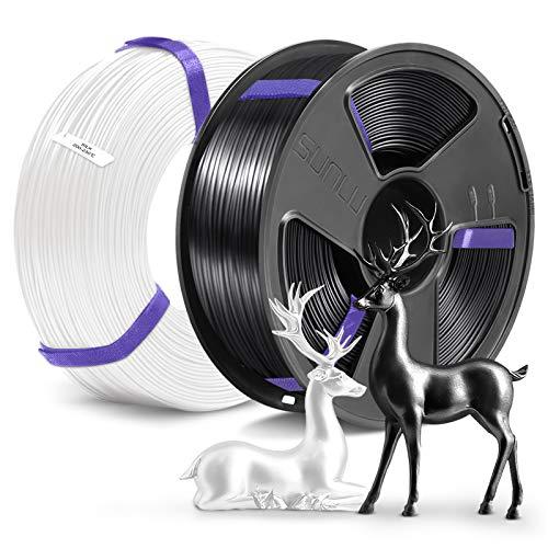 3D Printer Silk PLA Filament 1.75, SUNLU 2 Colors Silk PLA 1.75mm of MasterSpool, Fit FDM 3D Printer, 1KG Spool, Pack of 2, Dimensional Accuracy +/- 0.02 mm, Silk PLA Black+White