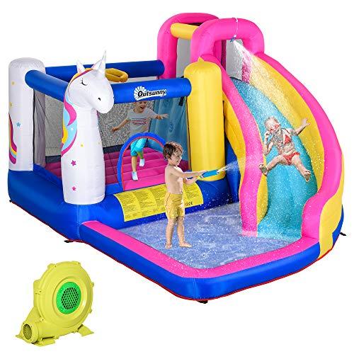 Outsunny Aufblasbare Hüpfburg mit Rutsche Pool für 4 Kinder Springburg mit Gebläse für 3-12 Jahre Kindergarten Oxford-, Polyester-Gewebe Mehrfarbig 380 x 320 x 210 cm