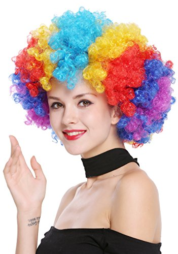WIG ME UP - PW0011 Parrucca Parrucca Afro Anni 70 Arcobaleno Colorata Enorme Funky Disco Clown