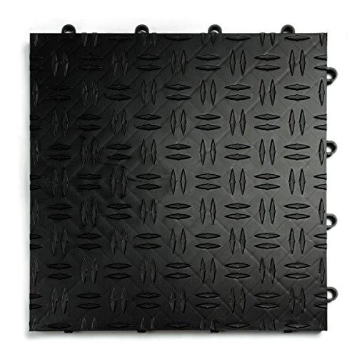 GarageTrac Diamond, Durable Interlocking Modular Garage Flooring Tile (48 Pack), Black