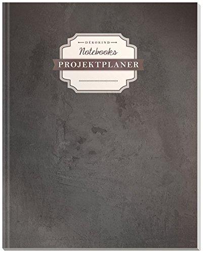 DÉKOKIND Projektplaner | DIN A4, 100+ Seiten, Register, Kontakte, Vintage Softcover | Für über 50 Projekte geeignet| Motiv: Schiefertafel