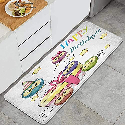 VAMIX Alfombra de Cocina,Cumpleaños, Bosquejo, bebé, búhos, impresión,Lavable Antideslizante Alfombrilla de Goma Alfombra de Baño Alfombrillas Cocina