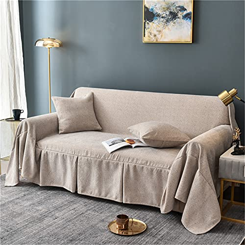 Manta del tiro del sofá, cubierta de la silla del sofá a prueba de polvo de chenilla Sillón Cama Sofá Cojín Toalla para Sofá Sofá Cama Viaje,Gris,200 * 360cm