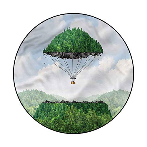 Fantasy Geometric Area Rug Yoga Decor Floor Cushion Hot Air Balloon Mountain 3'