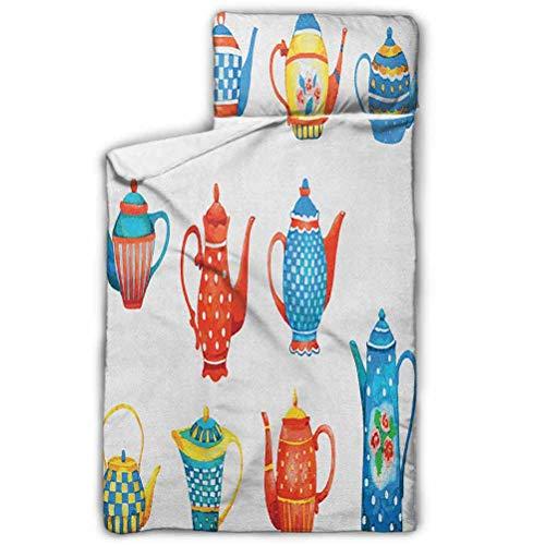 Alfombrilla para la siesta incluye almohada y manta de forro polar, imágenes temáticas de té, saco de…