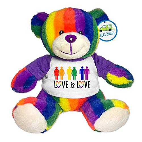 Bear Buggy Love is Love Plush Animals by RGU (Rainbow Pride Teddy, 9')