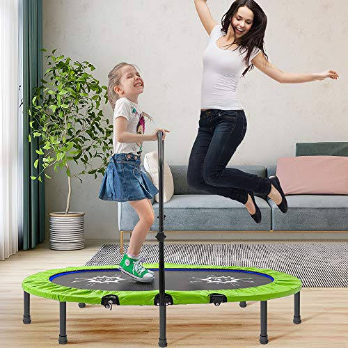 aldi trampolines QWEIAS Parent-Child Twin Trampoline with Adjustable Handrail and Safety Cover, Premium Mini Kids Trampoline Recreational Trampolines for 2 Kids Indoor Green