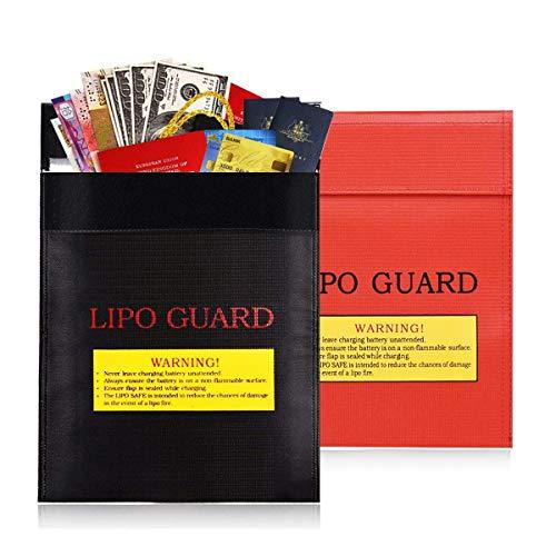 Bolsa Resistente al Fuego,Fiyuer 2 pcs Bolsa de Documentos a Prueba de Fuego ignífugos para batería Efectivo Pasaportes Fotos (23 * 30cm)