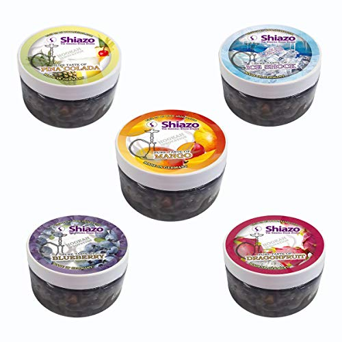 DXP Shiazo 5x 100 Gr. Piedra Gránulos Sin nicotina - Nikotinfreier Sustituto Del Tabaco (Dos manzanas, rosa, menta de uva, guayaba,Té helado Long Island)