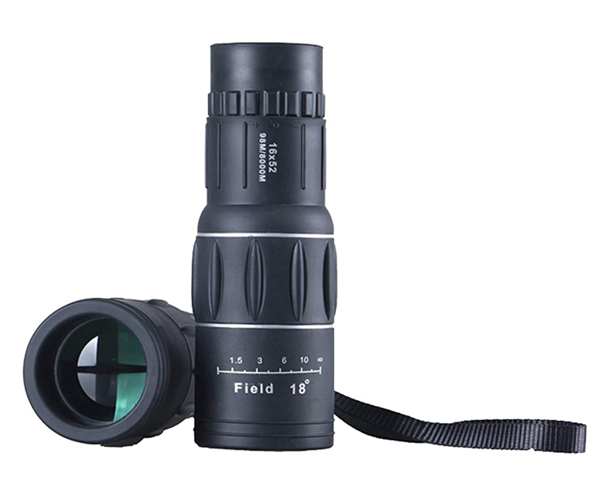 16x52 Monocular telescope and Quick Smartphone Holder by DANMO. Single Hand Focus for Outdoor, Bird Watching,Camping,Hunting,Travel
