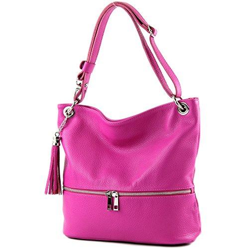 modamoda de - T143 - ital Schultertasche Umhängetasche aus Leder, Farbe:Pink