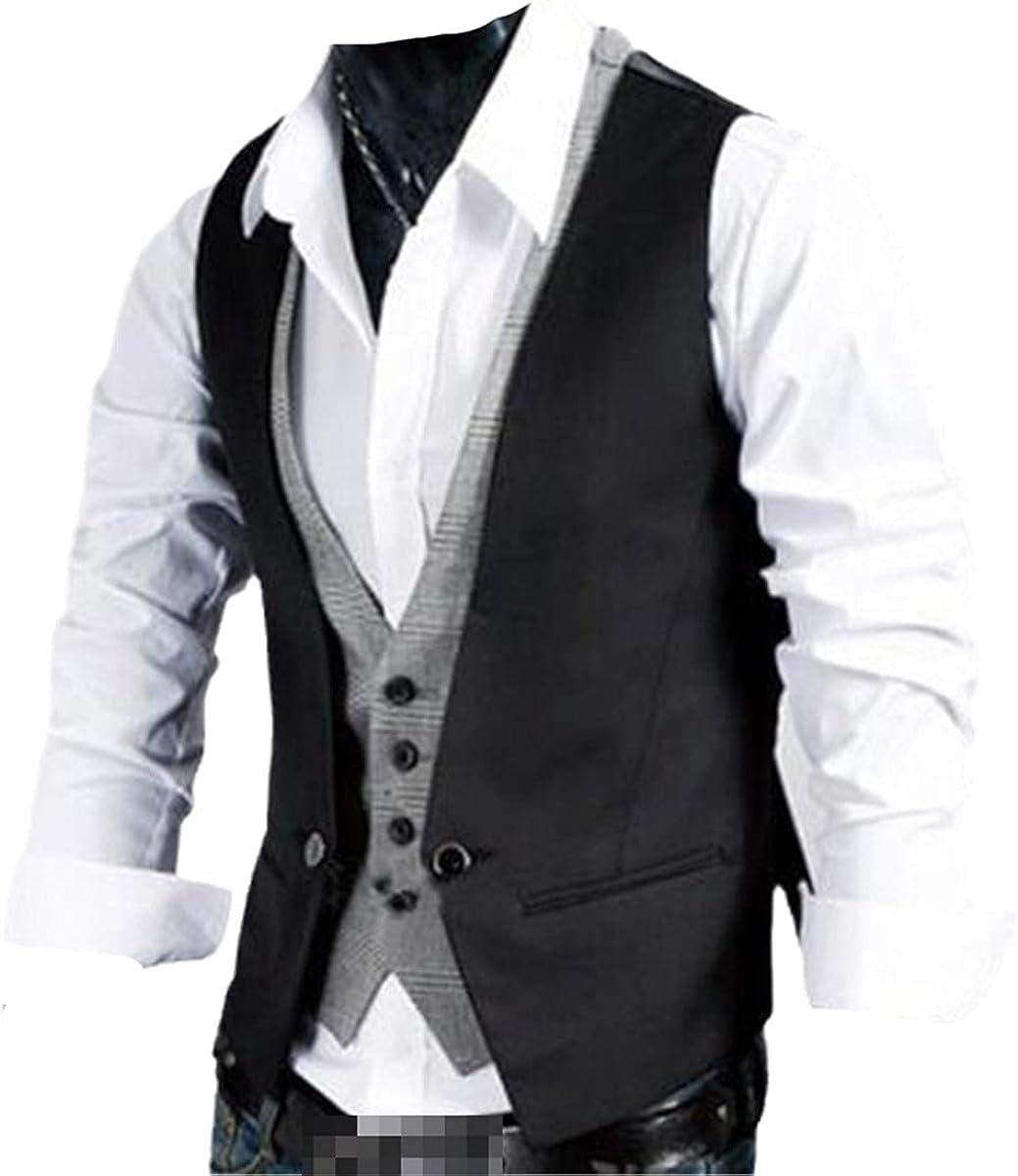 Men's formal vest vest business solid color single button vest vest fake two-piece V-neck casual slim fit