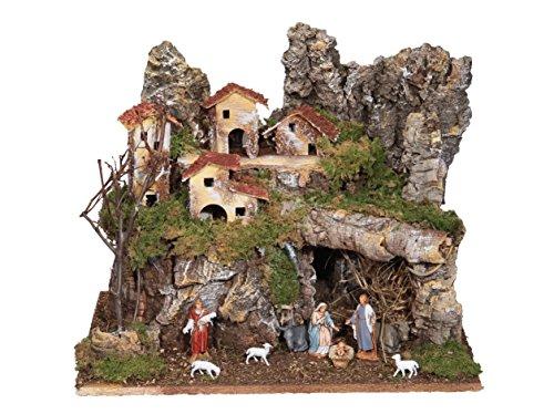 Ferrari & Arrighetti completo villaggio paesaggio con luci, abitazioni e Natività, legno, multicolore, taglia unica