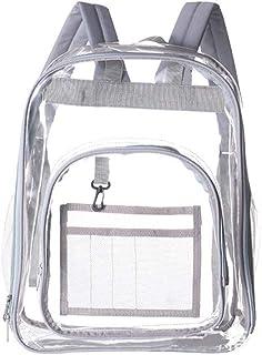 Mochila transparente de PVC de gran capacidad a prueba de agua Protección Ambiental bolsa transparente Escuela Mochila Casual diario Mochila para la escuela De Viajes (Grey)