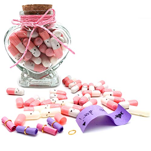 Grenerics Pink Capsule Letters Message in a Bottle Glass Favor Wish Bottle with Cork in Half Color...