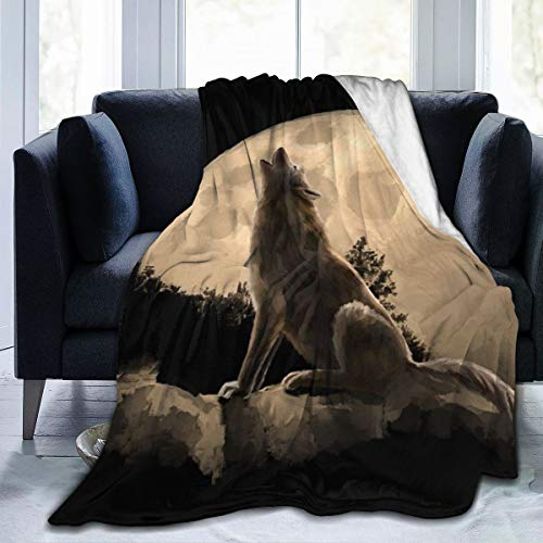 """AMITAYUS Moon Soloist Wolf Fleece Throw Blanket Lightweight Super Soft Flannel Bed Blanket Perfect Home Decor for Couch Chair Sofa Living Room 80""""X60"""" Large"""