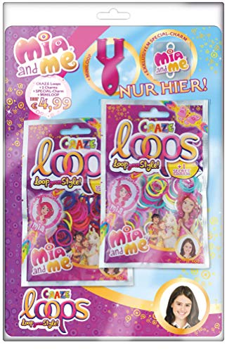 CRAZE Loops Mega Bundle 3X 2er Pack Mia and Me Knüpfringe mit viel Zubehör DIY Armband für Mädchen Kinderschmuck 24096, bunt