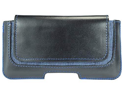 OrLine Handytasche geeignet für Alcatel Idol 3C Ledertasche Gürteltasche ECHT Leder Hülle Hülle mit Gürtelclip, Schlaufe & Magnetverschluss Schwarz/Blau