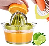 Drizom Citrus Lemon Orange Juicer Manual Hand Squeezer with Built-in Measuring Cup and Grater, 12OZ,...