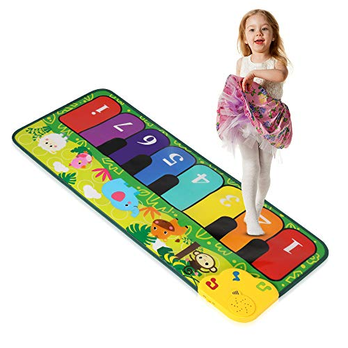 Foot Piano Mat 32' Keyboard Play Mat Toddler Piano Mat with 5 Animal Sounds Early Education Toys Gift for Girls Boys