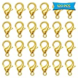 120pcs Alloy Lobster Clasps Golden Curved Lobster Claw Clasps for Jewelry Making Findings DIY Necklace(12 x 6mm)