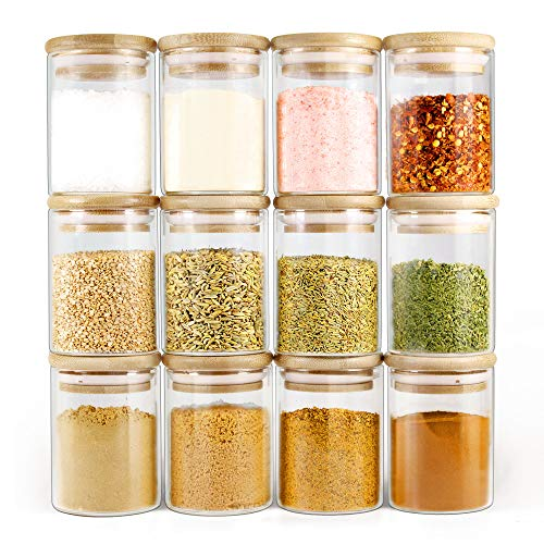 Glass Spice & Herb Jars with Bamboo Lids
