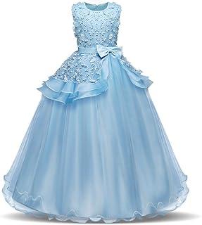 GFDGG 女の子のページェントドレスキッズウエディングボールガウンノースリーブ刺繍プリンセスコスチュームプリンセスドレス (色 : 青, サイズ : 120cm)