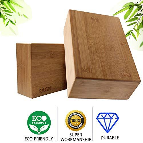 Kagni Alta Densita Naturale bambù Blocchi Yoga 2 Pezzi, Ecologici Bamboo Legno Mattoni Blocco Yoga Block Brick per Yoga Esercizio Pilates Fitness Palestra (2 Blocchi)