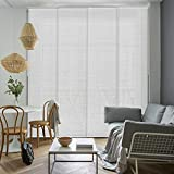 GoDear Design Deluxe Adjustable Sliding Panel Track Blind 45.8'- 86' W x 96' H, Extendable 4-Rail Track Track, Trimmable Natural Woven Fabric, Semi-Privacy, Zipper