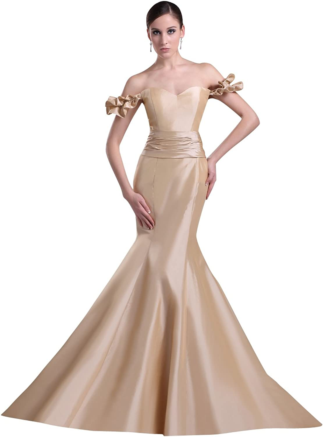 Vampal Champagne Taffeta Off The Shoulder Mermaid Prom Dress With Ruffle