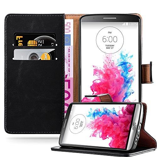 Cadorabo Hülle für LG G3 - Hülle in Graphit SCHWARZ – Handyhülle im Luxury Design mit Kartenfach und Standfunktion - Case Cover Schutzhülle Etui Tasche Book