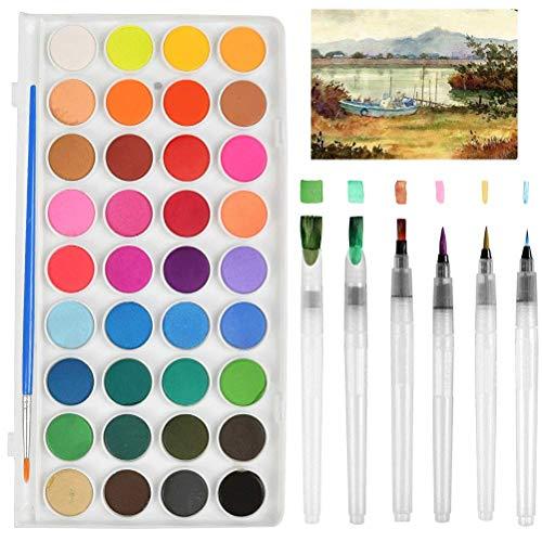 FOCCTS 36 Colores Pigmento Sólido Portable Pincel Pintura Acuarela con 6 Tamaños Diferentes Corrales de Almacenamiento de Agua